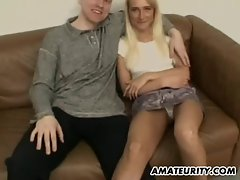 Amateur fuck partner caresses and bangs with double facial