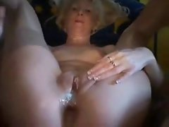Light-haired attractive mature loves anus