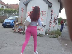 So sensual teenie in narrow Leggings Pinkk
