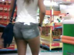 Esposa shortinho supermercado-Wife short shorts market