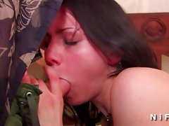 Sexual dark haired wild fucked and cum covered