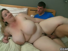 Huge titted obese licks extremely big cock before sex