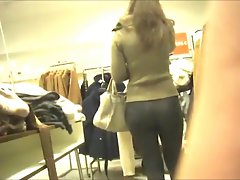 sensual naughty ass in leggings at the department store