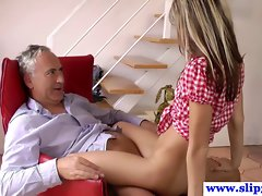 Older euro fellow teased by younger cowgirl