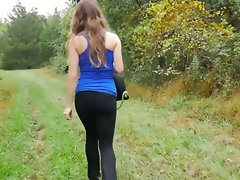 Outdoor farts in tense ebony pants