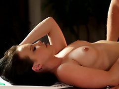 Older man fucks wet vagina of pretty stepdaughter on table