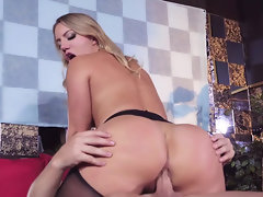 Blond bombshell rides and sucks her customer