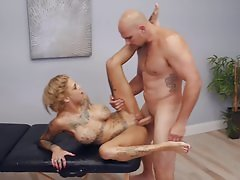 Inked blonde just can't get enough of his long piece of johnson