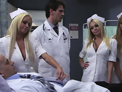 Pretty young girls in white robes banged by doctors and patients