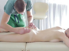 Well-done massage leads to sensual oral foreplay on table