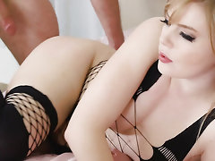 Blonde babe in lingerie gets her sweet pussy banged