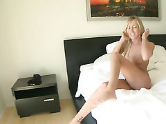 Buddy films on cam solo masturbation of blonde girlfriend