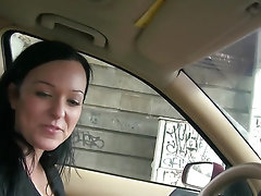 Random amateur girl takes cash to suck cock in the car