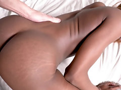 Amazingly hot ebony babe gets banged POV style