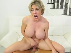 Man prefers MILFs with tits so his new flame is adult and buxom