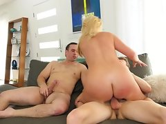 Blonde lawyer with awesome big tits practices threesome for votes