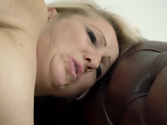 Old blonde-haired bitch enjoys each inch of young dick