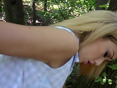 A chick with small tits if getting fucked hard in the forest