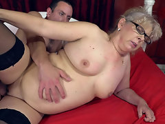 Dirty granny gives her pussy to the fit young man
