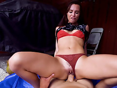 Lusty young Aidra Fox rides a big cock in her panties