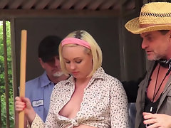 Curvy Miley May blows three farmers in the barn