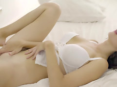 Pretty chick in white lingerie enjoys anal sex with friend