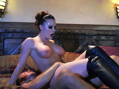 Diva in high leather boots has fervid coition with sweaty guy